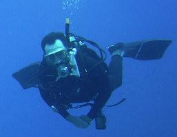Chal Benson under water
