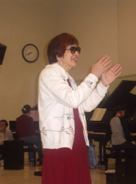 Haruko Kataoka at a 10-Piano Concert rehearsal, Matsumoto, Japan, April, 2002