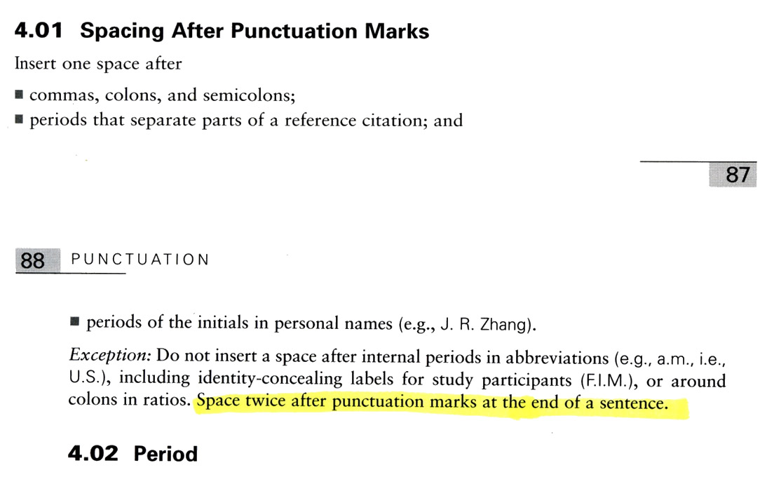 Thesis Errors  Should Be Two Blank Spaces Between Sentences