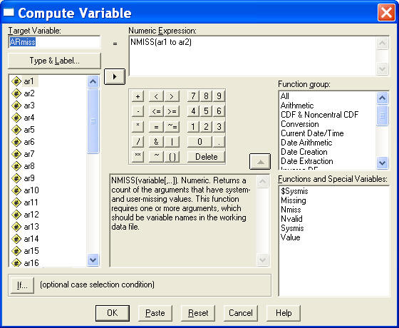 How to write a numeric expression in spss